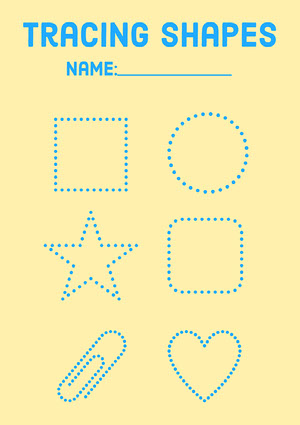 Yellow & Blue Dotted Shapes A4 Worksheet 워크시트