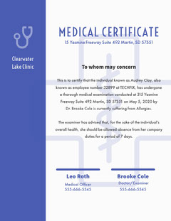 White and Violet Medical Certificate Clinic Lake