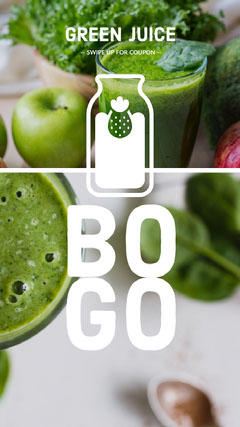 White and Gree, Bright Toned Green Juice Bogo Instagram Story Bogo