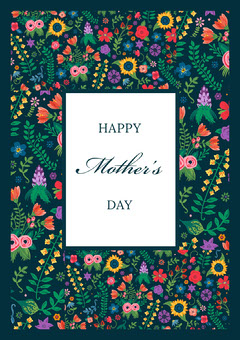 Floral Calligraphy Mothers Day Card Seasonal