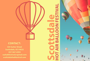 Orange and Blue Scottsdale Arizona Travel and Tourism Brochure with Hot Air Balloons Brochure