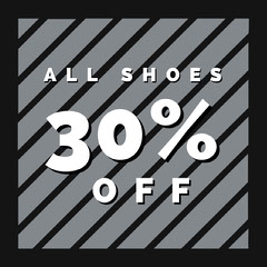 Grey White and Black Shoes Sale Advertisement Shoes