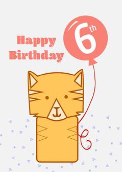 Orange Tiger Balloon Birthday Card Kids