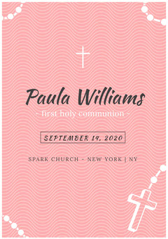 Pink Wave Pattern Communion Announcement Card with Cross Christianity