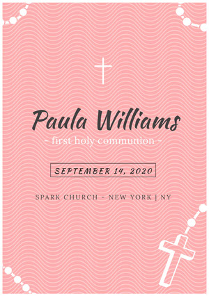Pink Wave Pattern Communion Announcement Card with Cross Communion Annoucements