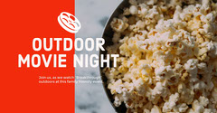 Red and Light Toned Movie Night Ad Facebook Banner Movie Night Flyer