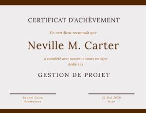 Neville M.  Carter Certificat