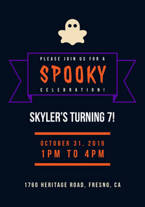 Black and Orange Spooky Party Invitation Scary