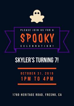 Black and Orange Spooky Party Invitation Halloween Party Invitation
