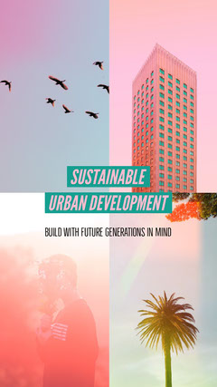 Pastel Colored Sustainable Urban Development Instagram Story with Collage Climate Change Posters