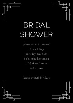 Black Bridal Shower Invitation Card with Frame Frame