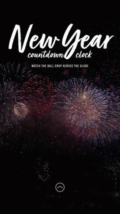 Fireworks New Year Countdown clock IG Story Fireworks