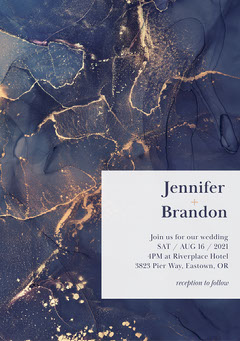 Blue and Gold Texture Border Wedding Invitation Gold