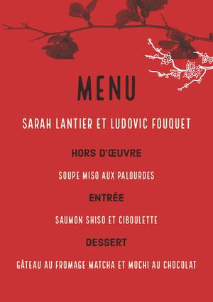 red floral wedding menu  Menu