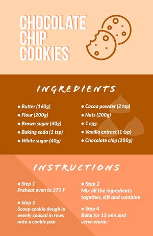 Brown Chocolate Chip Cookies Recipe Infographic  Infographic Examples