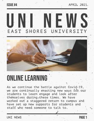 Black and White University News Newspaper Boletín