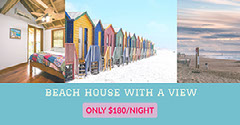 Blue and Pink Light Toned Collage Beach House Rent Ad Facebook  Beach
