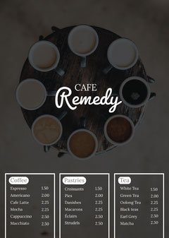 Black and White Cafe Menu Drink Menu