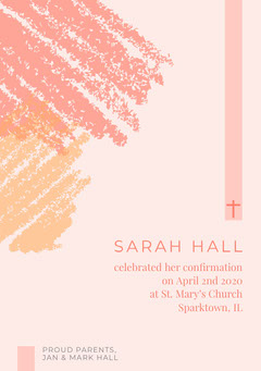 Pink and White Confirmation Announcement Religion