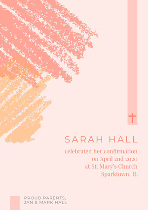 Pink and White Confirmation Announcement Annonce