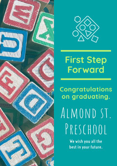 Blue With Colorful Blocks Graduation Poster Block Party Flyer