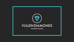 Black and Cyan Border and Diamond Modern Jeweler Business Card Tarjeta de visita