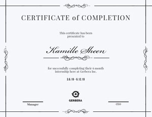 Black and White Elegant Calligraphy Internship Completion Certificate Certificat