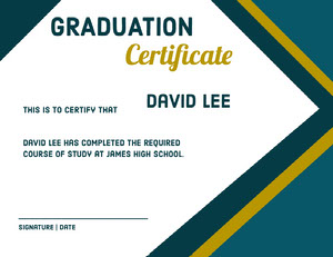 Blue and Gold High School Graduation Certificate Certificato di diploma