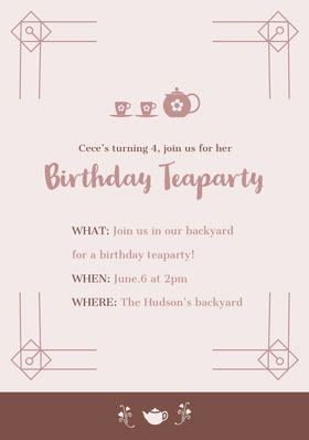 Brown Birthday Party Invitation Card Convite de aniversário