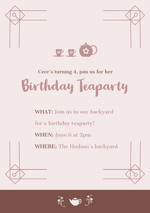 Brown Birthday Party Invitation Card Tea Party Invitation