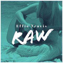 Blue Woman Playing Guitar on Beach Album Cover Beach