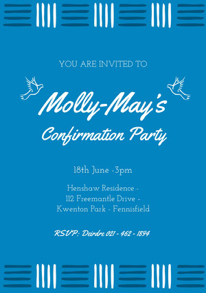 Blue and White, Light Toned Confirmation Invitation Card Confirmation Invitation