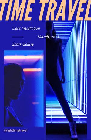 Blue Neon Futuristic Art Installation Poster Poster
