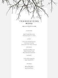 Black and White, Minimalistic Thanksgiving Menu Flyer Menu