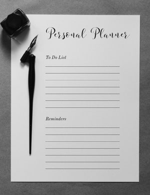 Black and White Personal Planner  Planificateur