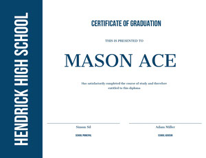 Blue and WHite Graduation Certificate Diplomi
