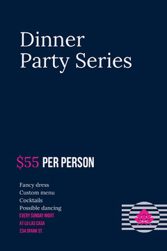 Dark Blue Pink and White Dinner Party Flyer Party