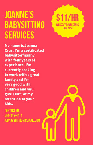 Red and Yellow Babysitting Service Flyer Babysitting Flyer