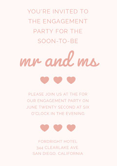 Pink Engagement Party Invitation Card with Hearts Couple