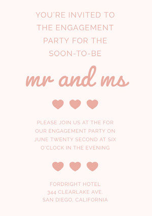 Pink Engagement Party Invitation Card with Hearts Kihlausilmoitus
