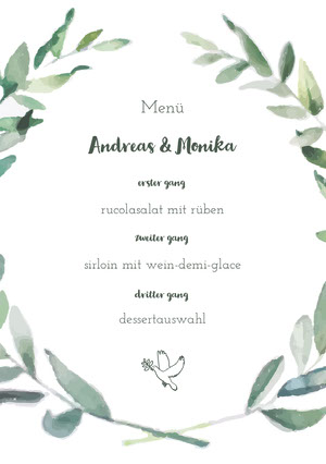 leaf framed wedding menu  Menü