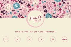 pink blue cream floral beauty bar salon loyalty card  Beauty Salon