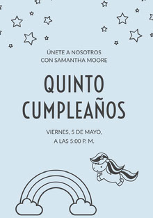 light blue unicorn birthday cards  Tarjeta de cumpleaños