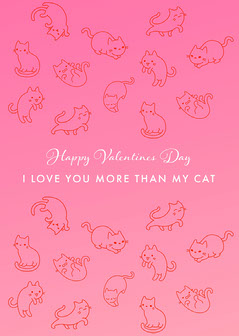 Pink Cats Valentines Day Card Love