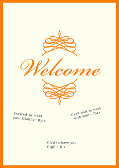 orange traditional group welcome card Welcome Poster