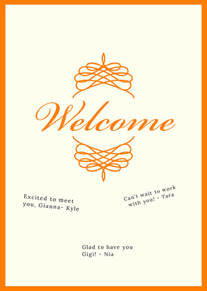 orange traditional group welcome card Welcome Card Messages