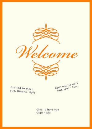 orange traditional group welcome card Cartão com Mensagem de boas-vindas ao Grupo