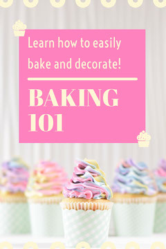 Pink Baking Guide Pinterest Graphic with Cupcakes Cupcake