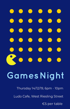 Blue and Yellow Illustrated Cafe Games Night Flyer Game Night Flyer