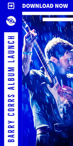 Blue and White With Man Holding Guitar Album Advertisement Launch